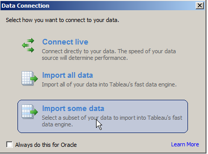 Connect to Data Tableau