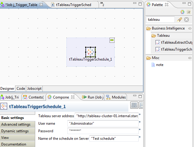 Tableau Schedule is triggered from Talend - see component description